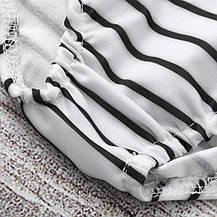 Купальник для дівчинки 5-6 років роздільний в смужку білий, фото 2
