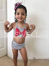 Купальник для дівчинки 5-6 років роздільний в смужку білий, фото 3