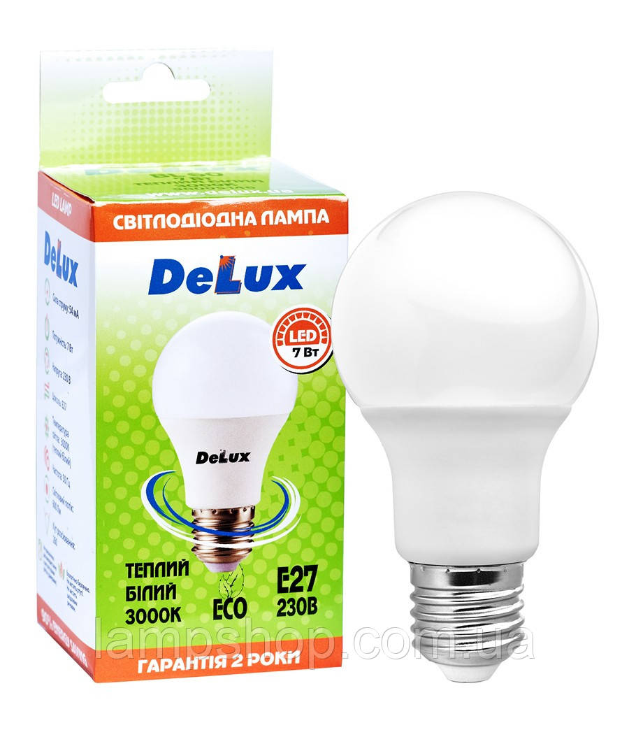Лампа светодиодная DELUX BL60 7Вт 3000K Е27 теплый белый