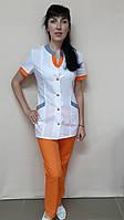 Женский медицинский костюм Радуга короткий рукав рубашечная ткань