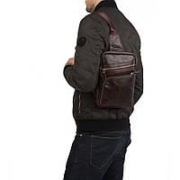 Рюкзак мессенджер слинг одна лямка кожаный коричневый