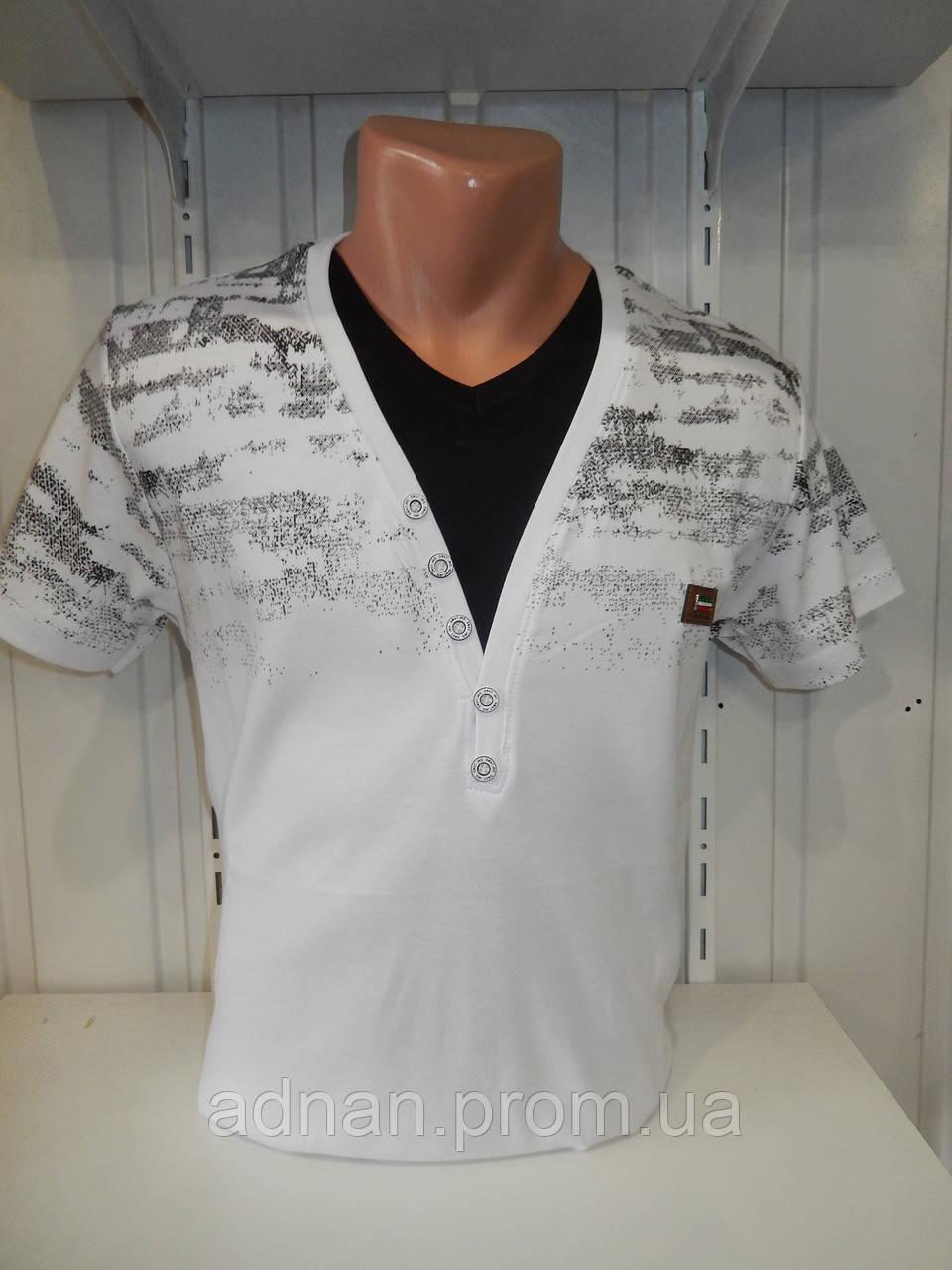Футболка мужская VIA MONTE, вырез, стрейч котон  002\ купить футболку мужскую оптом
