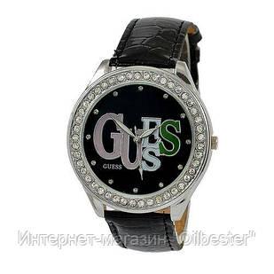 Часы женские со стразами Guess черные, реплика