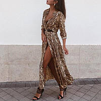 Платье шифоновое длинное с принтом питона ХИТ, фото 1