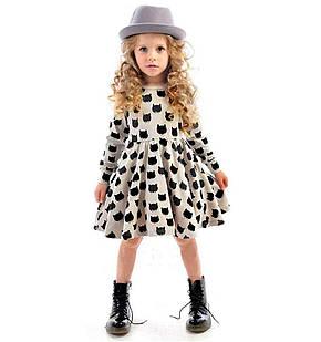 """Платье для девочки 6-7 лет трикотажное с принтом """"Кошечки"""" длинный рукав серое, фото 2"""