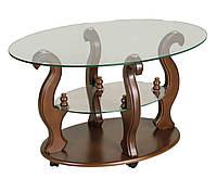 Журнальный стол ДС-2 Шарм (900*600) орех-прозрачный