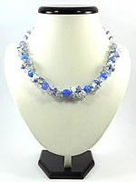 """Эксклюзивное ожерелье """"Незабудка"""", Изысканное ожерелье из натурального камня, красивые украшения"""
