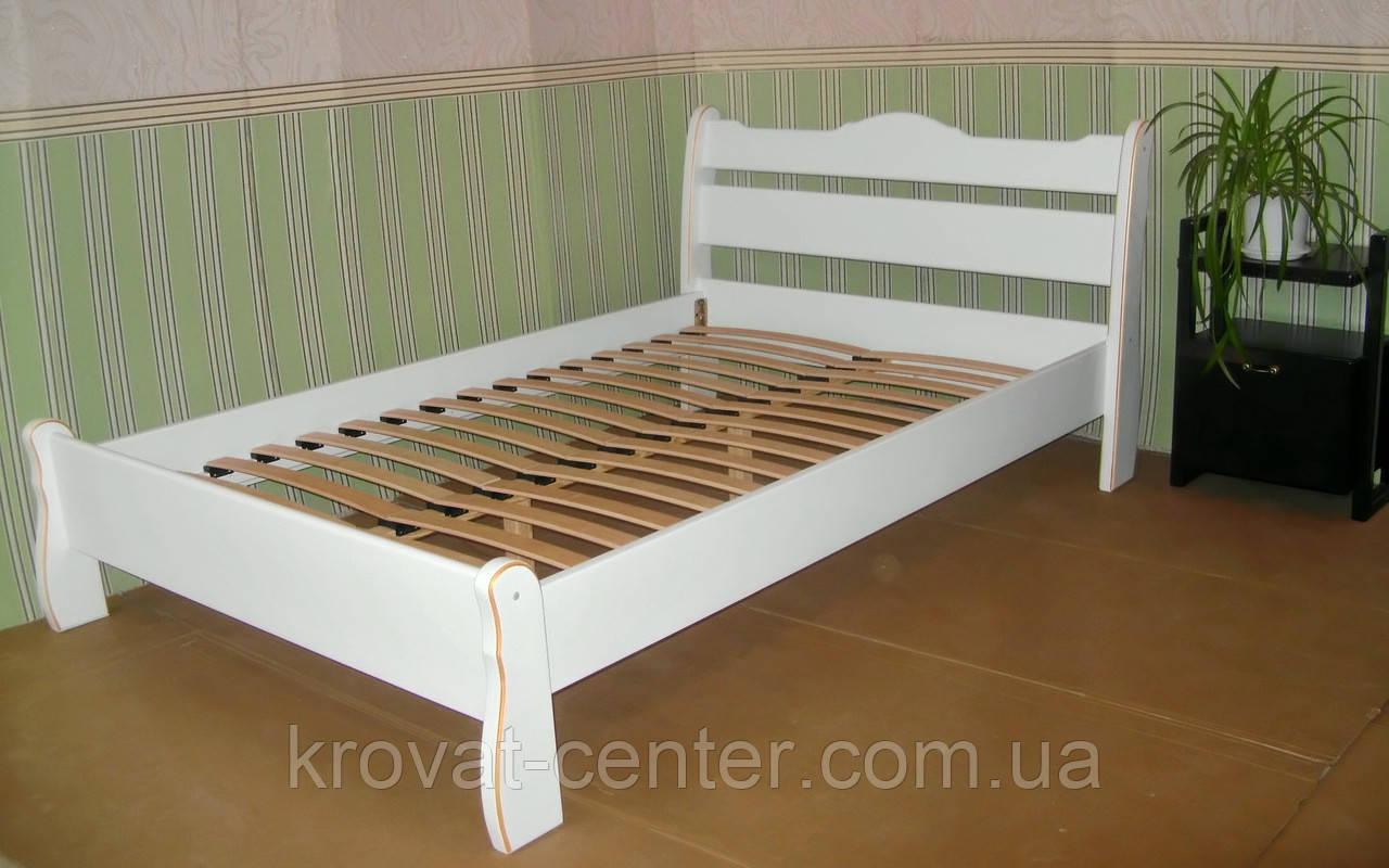 """Белая полуторная кровать из натурального дерева """"Грета Вульф"""""""