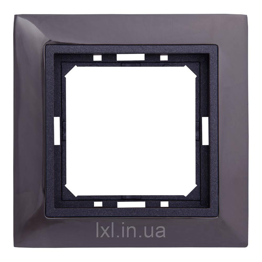 Рамка 1 место черная сталь/графитовый металлик TESLA (материал металл)