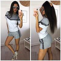 Женский летний костюм шорты и футболка, серый