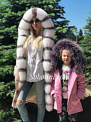 Family look, мама+дочка парки меховые
