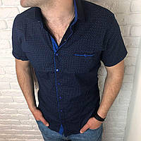 Рубашка мужская приталенная XXL слим, короткий рукав. Турция. Молодежная турецкая рубашка. Синий