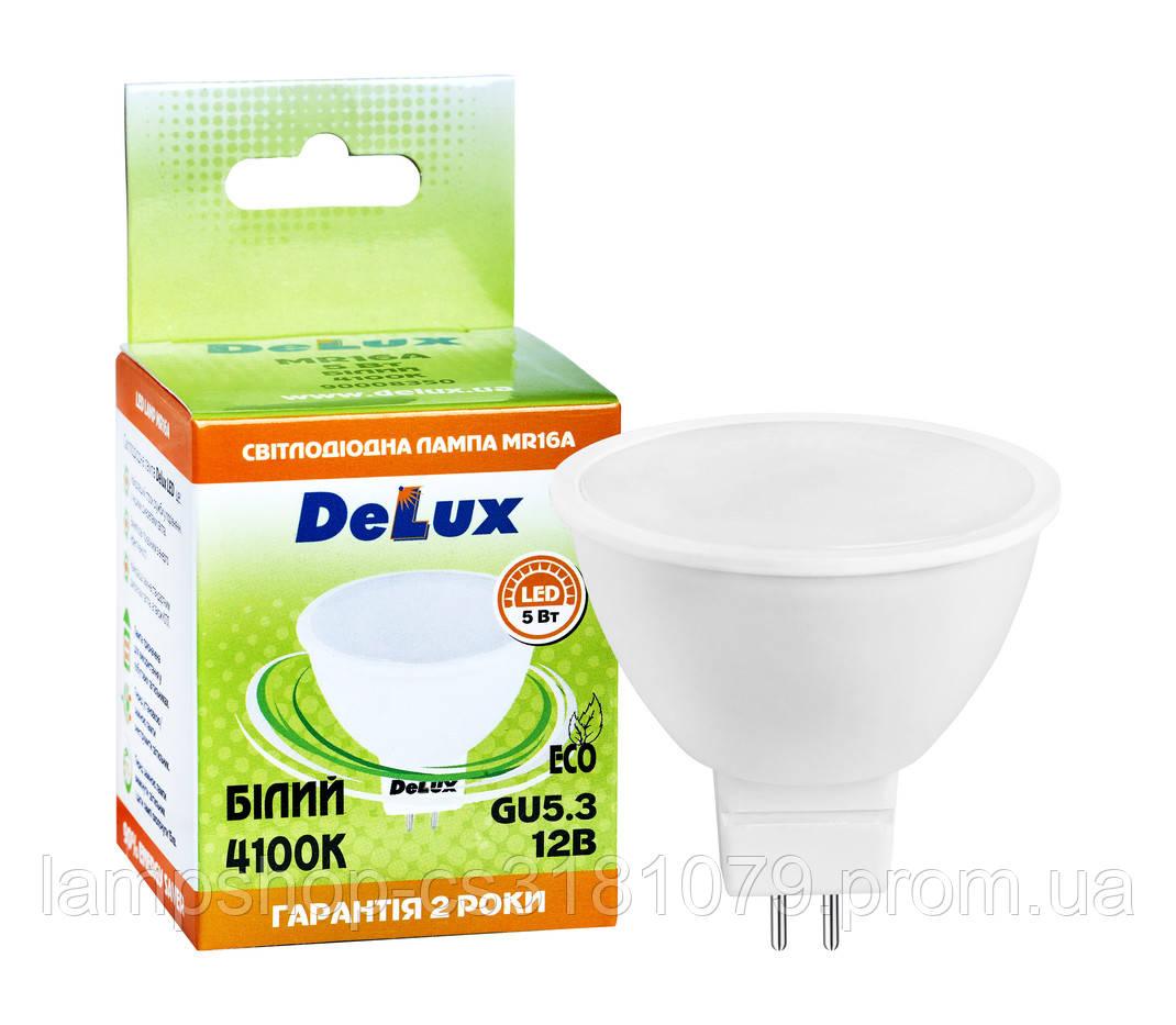 Лампа светодиоднаяDELUX MR16A 5Вт 4100K 12В GU5.3 белый