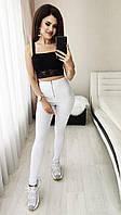 Лосины женские из джинса на молнии с завышеной талией (К27703), фото 1
