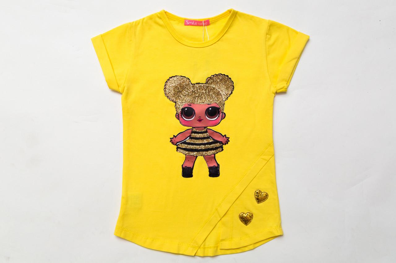 Футболка для девочки р.98,104,110,122,128 желтая SmileTime Doll Queen Bee