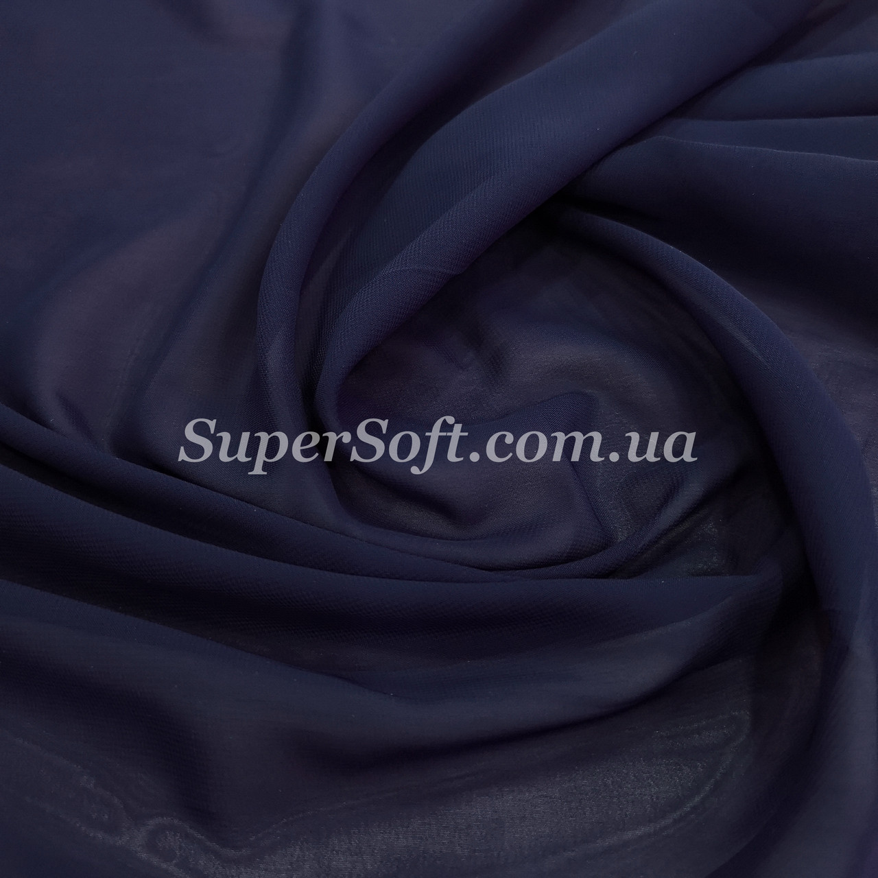 Ткань шифон синий темно-синий