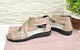 Кожаные женские босоножки римлянки, цвет визон, фото 4