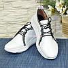 Стильные кожаные кроссовки из натуральной белой кожи, фото 3