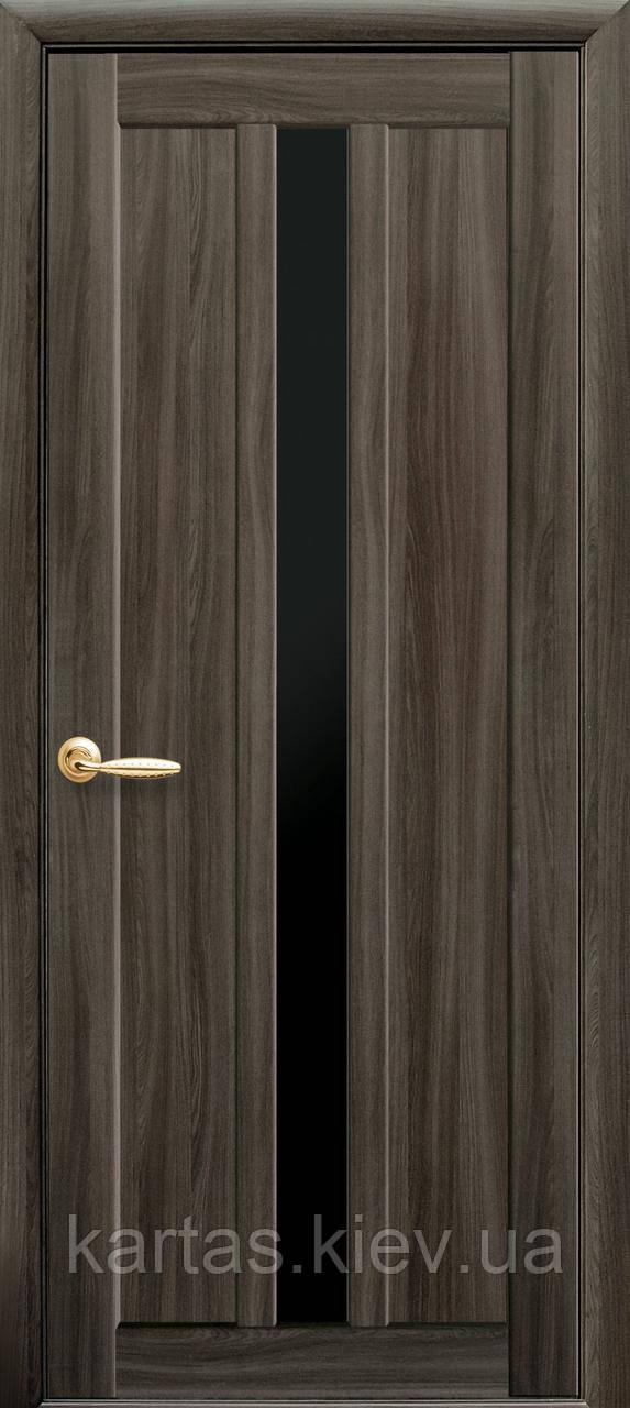Дверное полотно Марти Кедр с черным стеклом