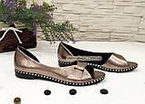 Женские кожаные балетки с открытым носочком, цвет никель, фото 5