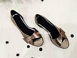 Женские кожаные балетки с открытым носочком, цвет никель, фото 6