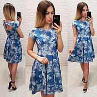 Платье арт. С 19-01 с открытой спинкой синее в цветочный принт