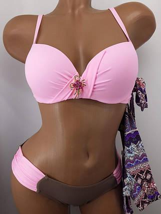 Купальник с двумя плавками розовый 58813 на 44 46  размер., фото 2