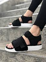 Женские сандалии в стиле Adidas (black/white), сандали Адидас, sandals Adidas (Реплика ААА)