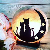 Соляная лампа «Коты на Луне» 3-4кг