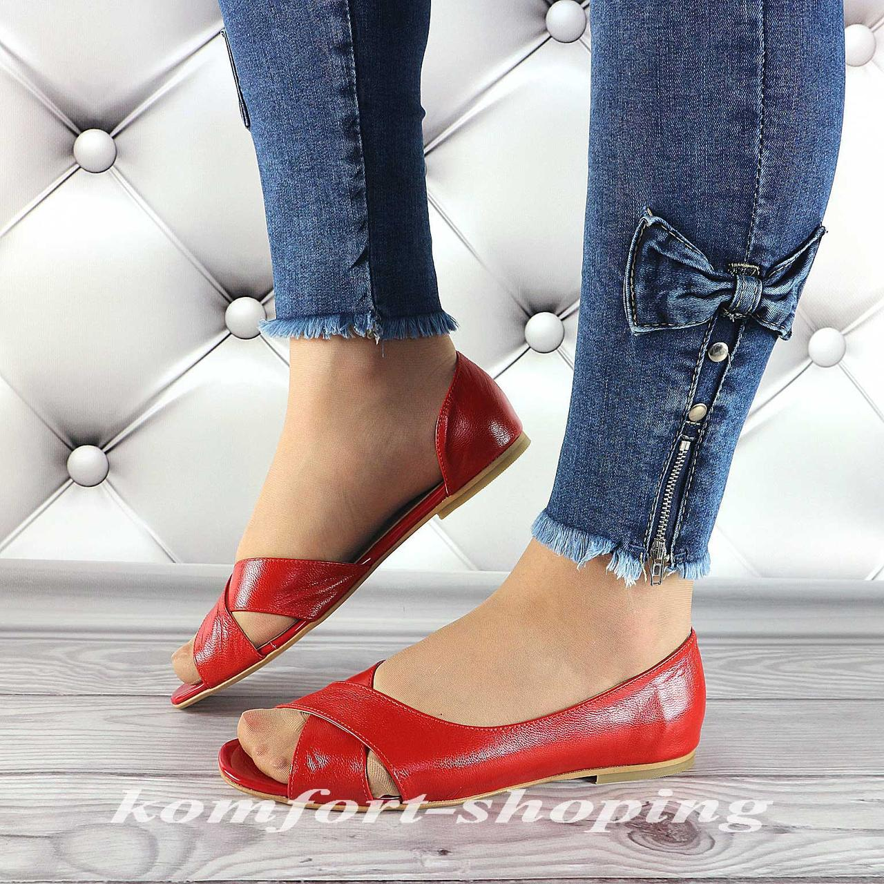 Женские босоножки кожаные, красныеV 1250