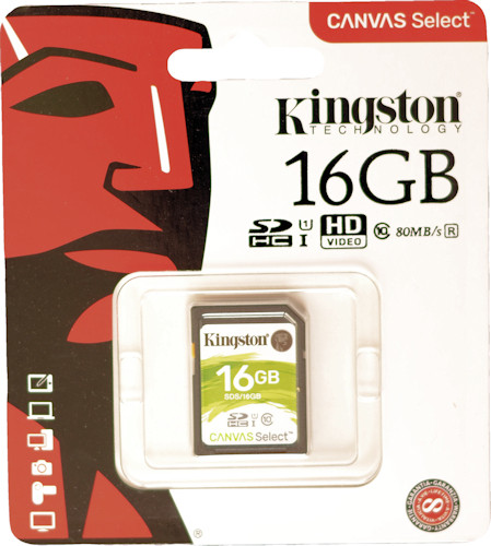 Карта памяти SDHC 16ГБ KINGSTON Canvas Select UHS-I U1 Class 10 (SDS/16GB)