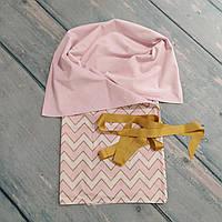 Плед конверт в детскую коляску/кроватку плюшевый, золотой глиттер