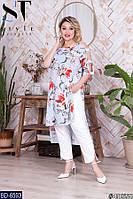 Женская блуза,туника большого размера,красивая блуза ,размеры  от 48 до 64, фото 1