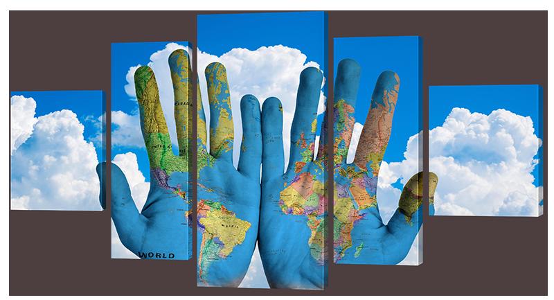 Модульная картина Interno Искусственный холст Мир в руках 123х66см (Z976M)