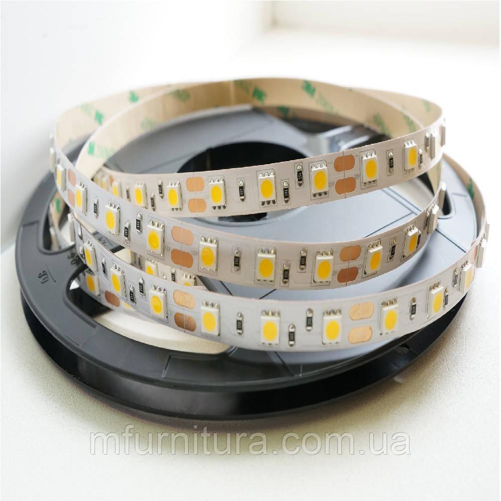 Лента светодиодная, 60 диодов/мП, без силикона, (Белый) (5м)(5050)
