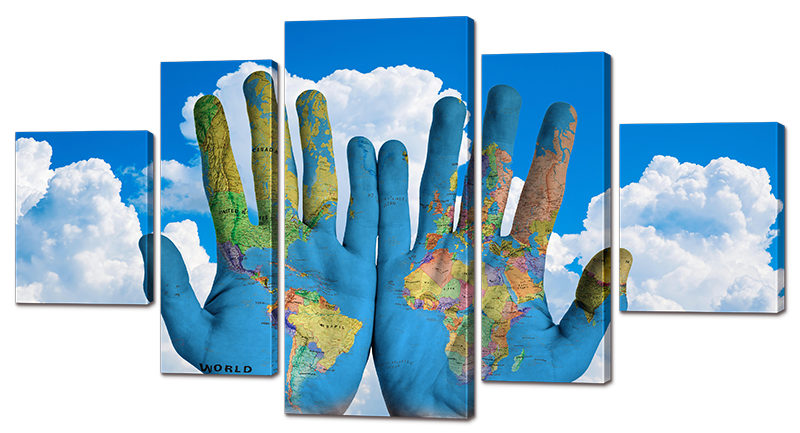 Модульная картина Interno Искусственный холст Мир в руках 140х76см (Z976L)