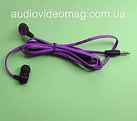 Стерео наушники Nike вакуумные, плоский шнур, фиолетовые