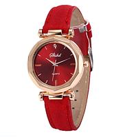 Наручные женские кварцевые красные часы