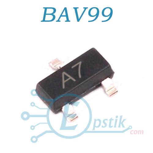 BAV99, два ультрабыстрых диода, 75В, 215mА, SOT23