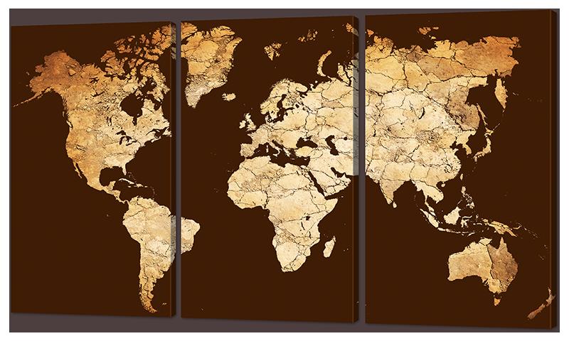Модульная картина Interno Искусственный холст Карта континентов 104х58см (Z977M)