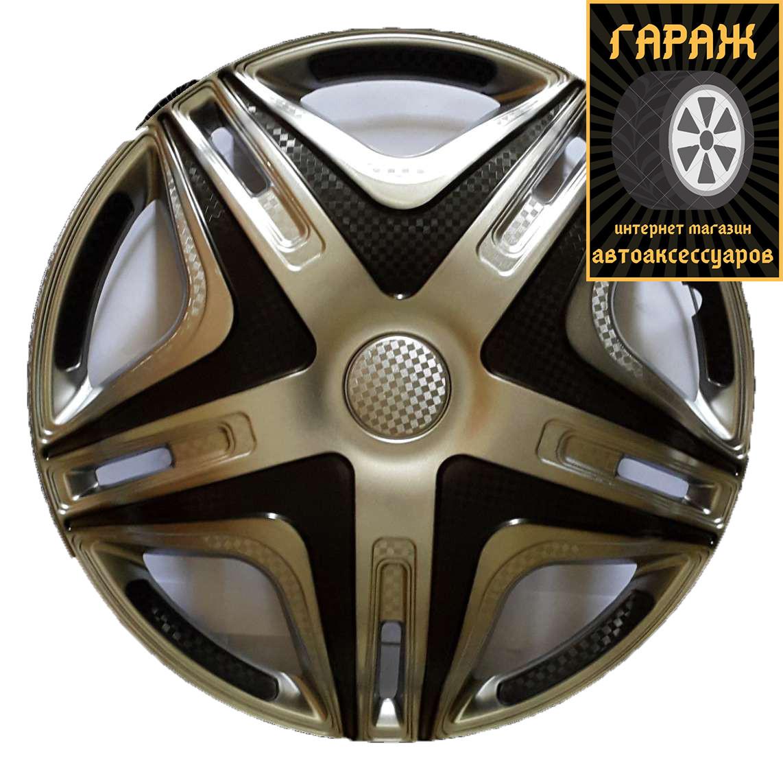 Колпаки R16 Star Дакар Super Silver карбон 2шт Газель - Дутая - Перед