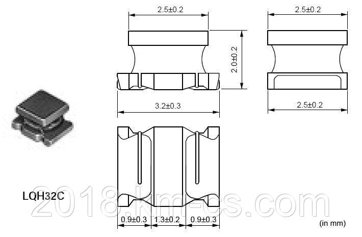 Индуктивность SMD L-1210 47uH 10% // LQH32CN470K53L (Murata Electronics)