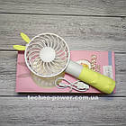 "Ручной мини-вентилятор на аккумуляторе Princess Rabbit Yellow. Портативный мини вентилятор ""Кролик"" Желтый, фото 3"