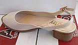 Босоножки женские на низком каблучке из натуральной кожи от производителя модель АР564беж, фото 3