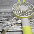 "Ручной мини-вентилятор на аккумуляторе Princess Rabbit Yellow. Портативный мини вентилятор ""Кролик"" Желтый, фото 7"
