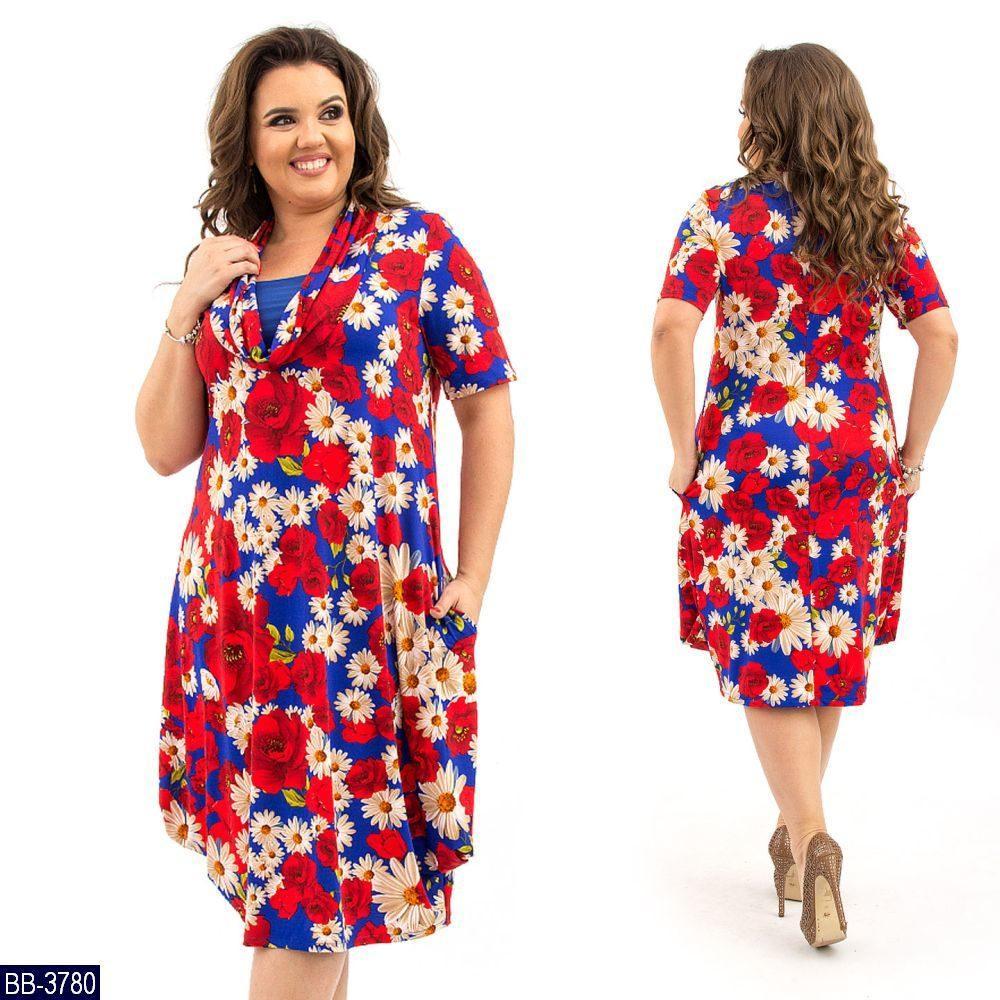 Стильное платье    (размеры 58-64)  0183-78