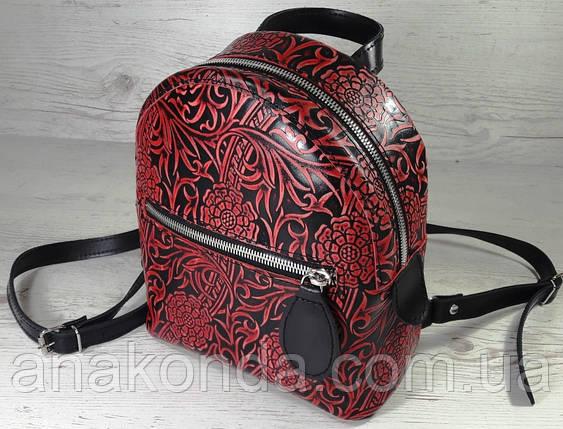 111-4 Натуральная кожа Городской рюкзак черный кожаный рюкзак женский тиснение, ручная обработкой поверхности, фото 2