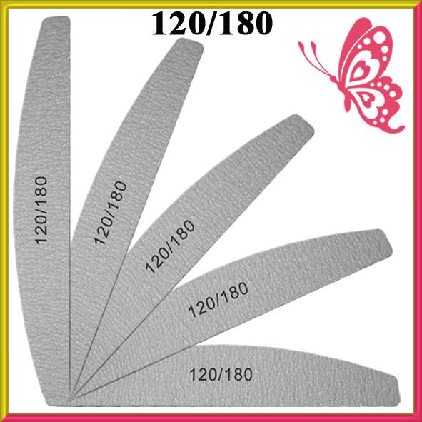 Пилка для Ногтей Лодка Серая 120/180 для Ногтей Двухсторонняя Упаковкой в 50 шт.