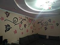Огромная композиция (5 метров) на всю стену из бабочек и цветов. Ветка сакуры,панно на стену. Деревянный декор