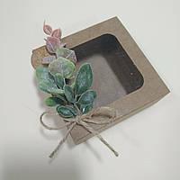"Коробка крафт ""Нежный розовый эвкалипт"" 90х90х35 мм, фото 1"